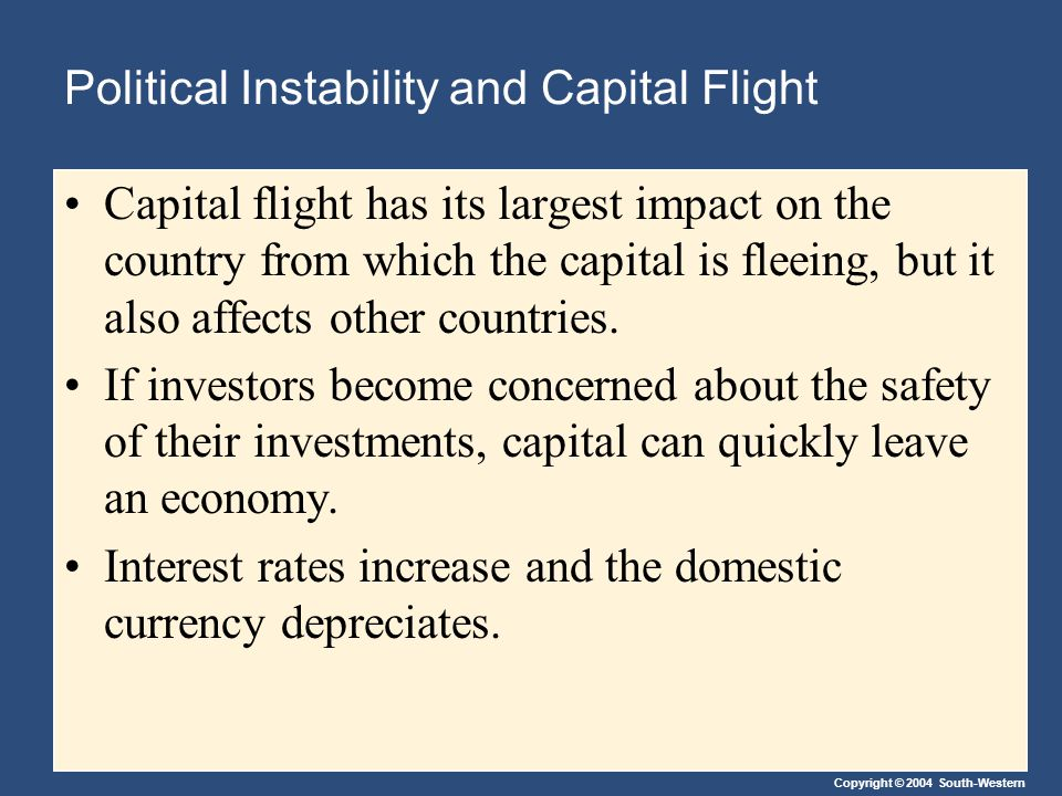 Copyright © 2004 South-Western Political Instability and Capital Flight Capital flight has its largest impact on the country from which the capital is fleeing, but it also affects other countries.