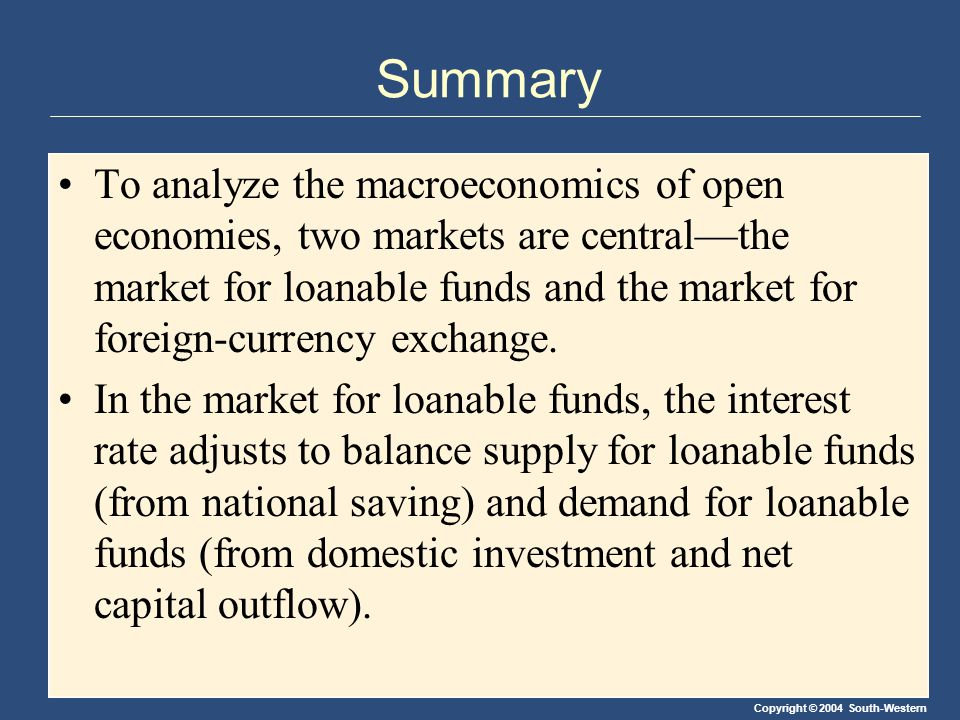 Copyright © 2004 South-Western Summary To analyze the macroeconomics of open economies, two markets are central—the market for loanable funds and the