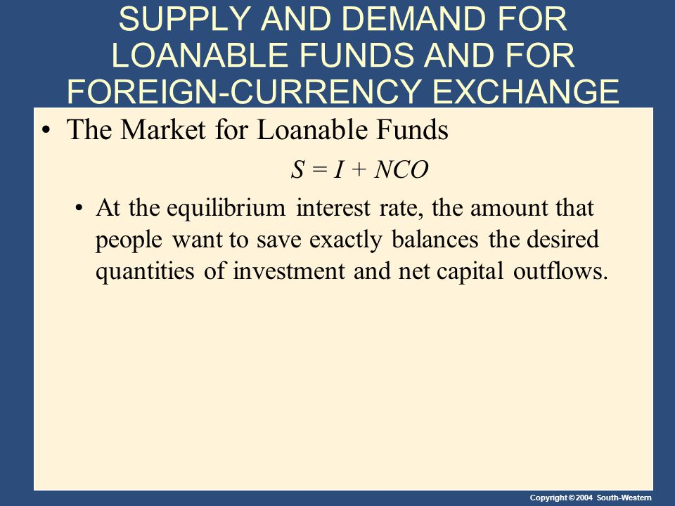 Copyright © 2004 South-Western SUPPLY AND DEMAND FOR LOANABLE FUNDS AND FOR FOREIGN-CURRENCY EXCHANGE The Market for Loanable Funds S = I + NCO At the equilibrium interest rate, the amount that people want to save exactly balances the desired quantities of investment and net capital outflows.