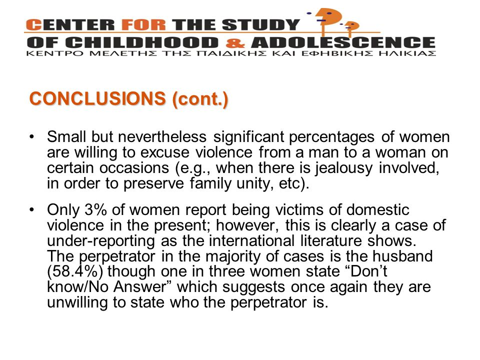 Small but nevertheless significant percentages of women are willing to excuse violence from a man to a woman on certain occasions (e.g., when there is jealousy involved, in order to preserve family unity, etc).