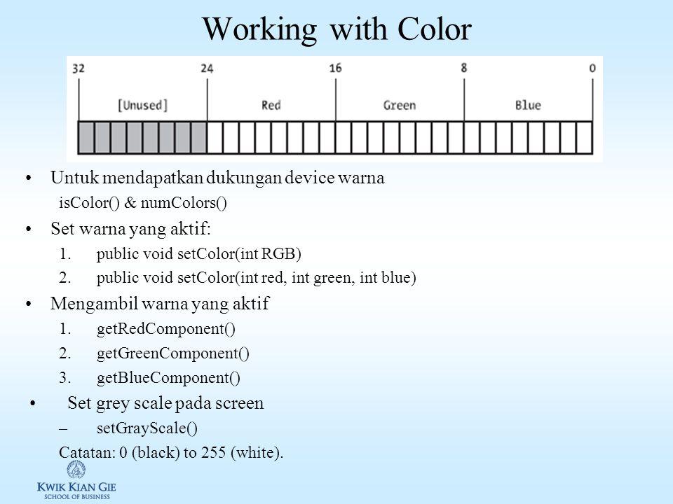 Konversi sumbu real ke screen Rumus konversi: –w = xoff + x –h = yoff - y Catatan: Width adalah lebar screen Height adalah tinggi screen w h y x w h y x (xoff,yoff)