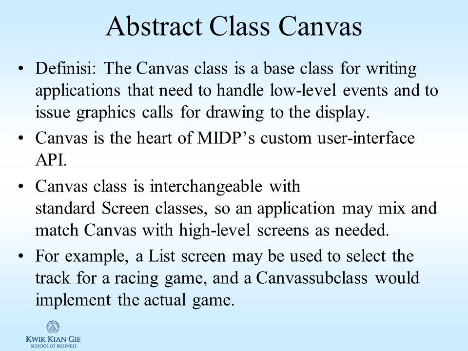 Class Canvas di Java ME