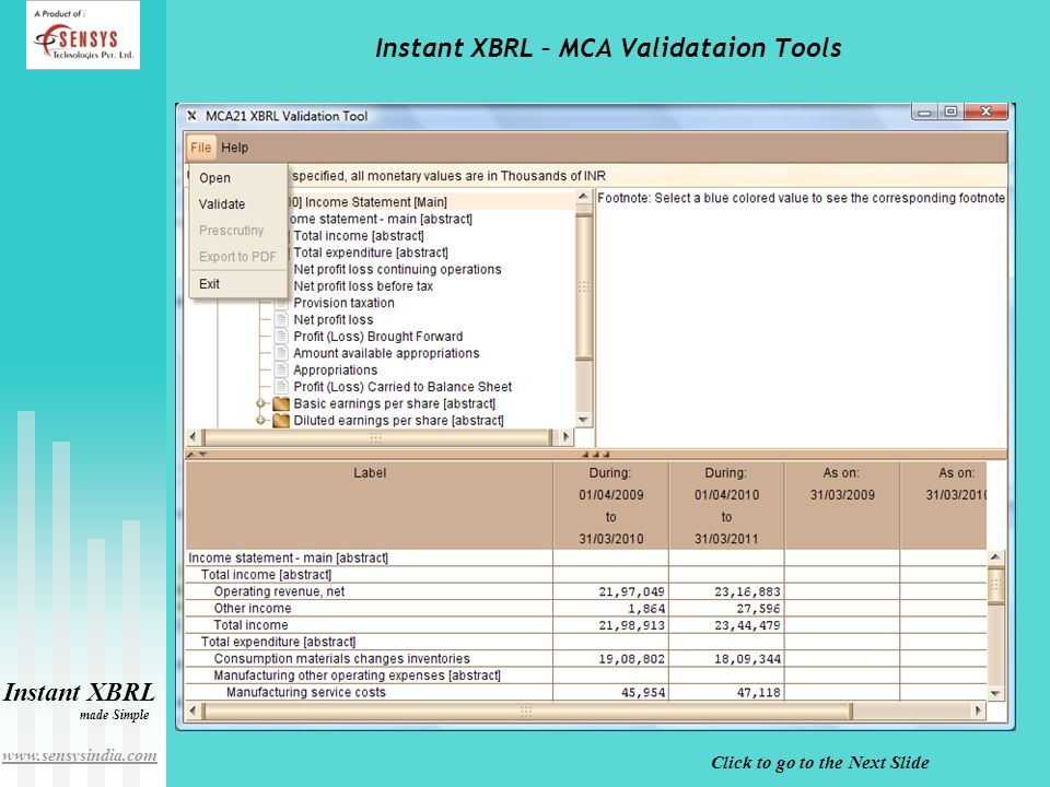 Click to go to the Next Slide Instant XBRL made Simple www.sensysindia.com Instant XBRL – MCA Validataion Tools