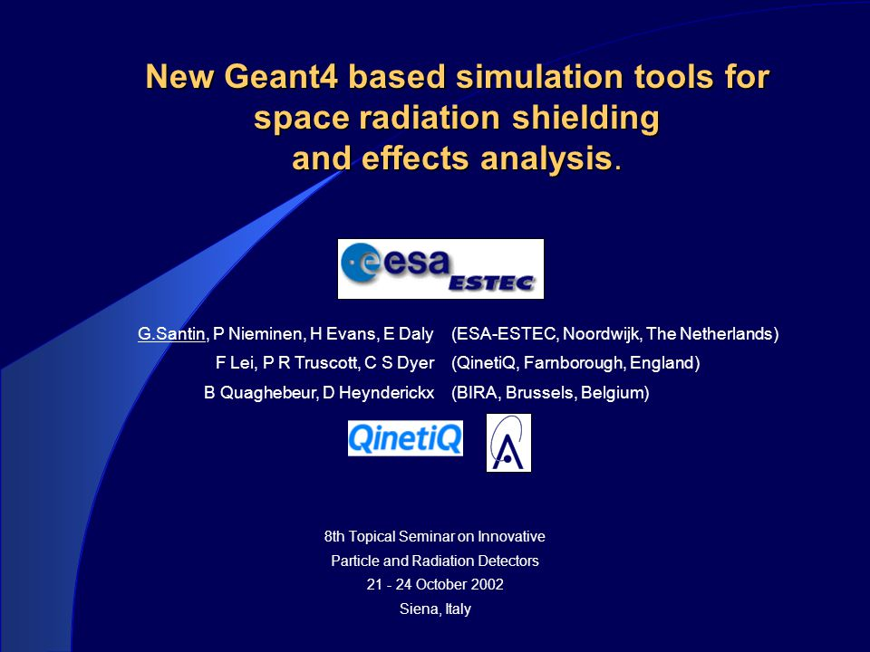 New Geant4 based simulation tools for space radiation shielding and effects analysis. 8th Topical Seminar on Innovative Particle and Radiation Detecto