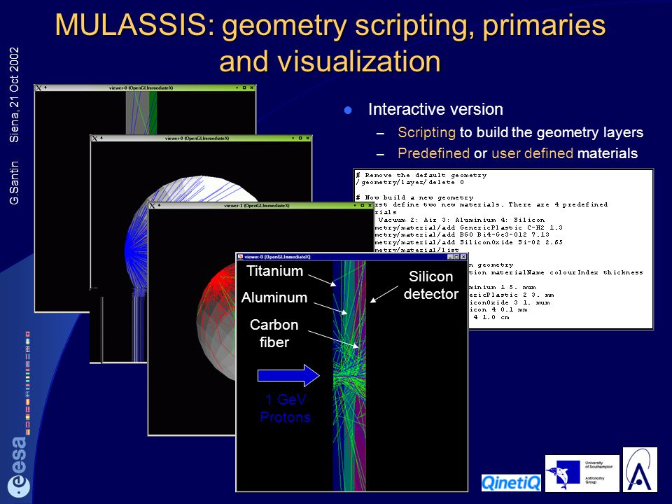 G.Santin Siena, 21 Oct 2002 MULASSIS: geometry scripting, primaries and visualization Interactive version – Scripting to build the geometry layers – P