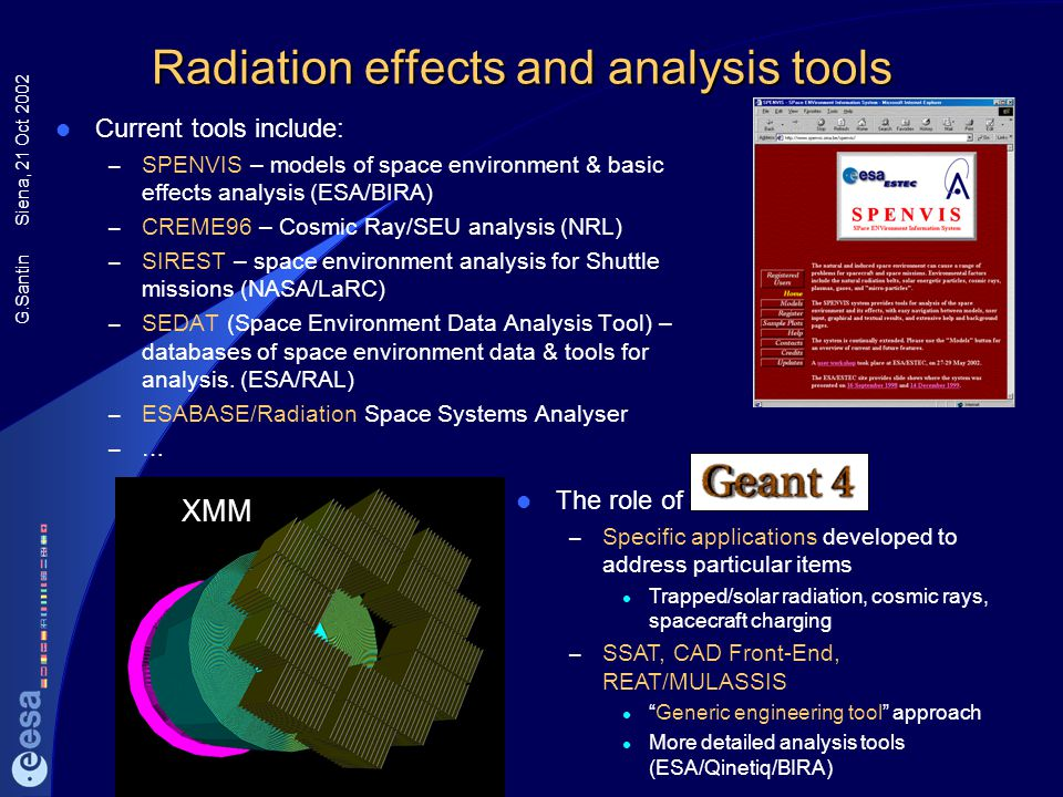 G.Santin Siena, 21 Oct 2002 Radiation effects and analysis tools Current tools include: – SPENVIS – models of space environment & basic effects analys