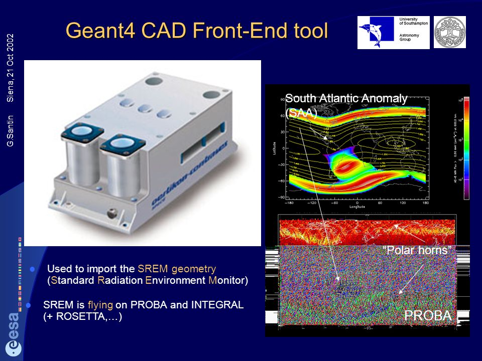 G.Santin Siena, 21 Oct 2002 Geant4 CAD Front-End tool Professional CAD tools are common in the aerospace industry STEP files import MC-related materia