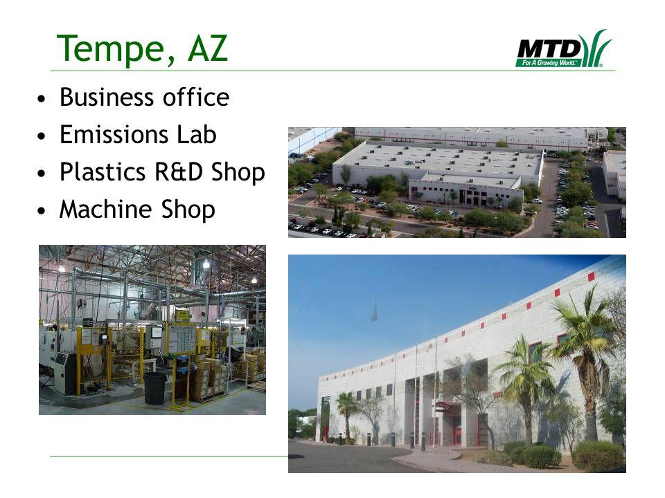 Business office Emissions Lab Plastics R&D Shop Machine Shop Tempe, AZ