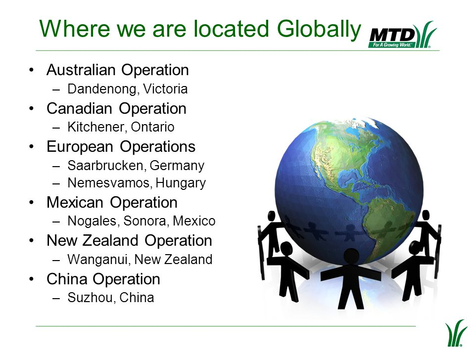 Where we are located Globally Australian Operation –Dandenong, Victoria Canadian Operation –Kitchener, Ontario European Operations –Saarbrucken, Germa