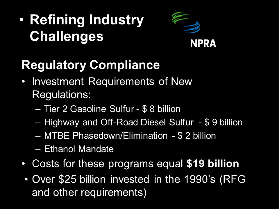 Regulatory Compliance Investment Requirements of New Regulations: –Tier 2 Gasoline Sulfur - $ 8 billion –Highway and Off-Road Diesel Sulfur - $ 9 billion –MTBE Phasedown/Elimination - $ 2 billion –Ethanol Mandate Costs for these programs equal $19 billion Over $25 billion invested in the 1990's (RFG and other requirements) Refining Industry Challenges