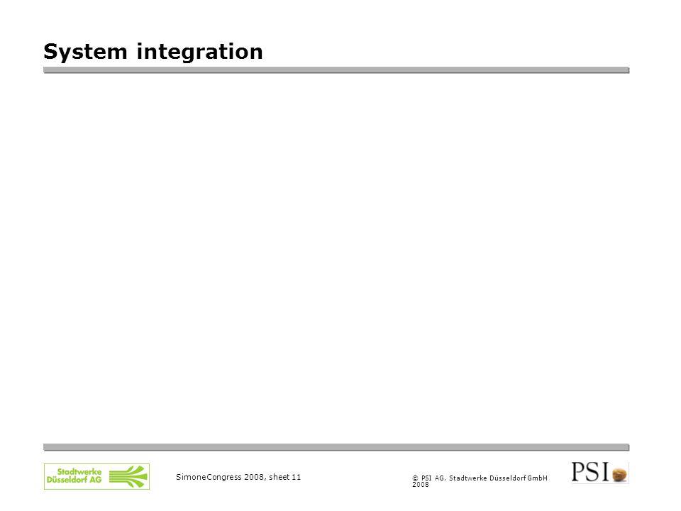 © PSI AG, Stadtwerke Düsseldorf GmbH 2008 SimoneCongress 2008, sheet 11 System integration