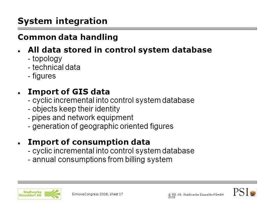 © PSI AG, Stadtwerke Düsseldorf GmbH 2008 SimoneCongress 2008, sheet 17 System integration Common data handling All data stored in control system data