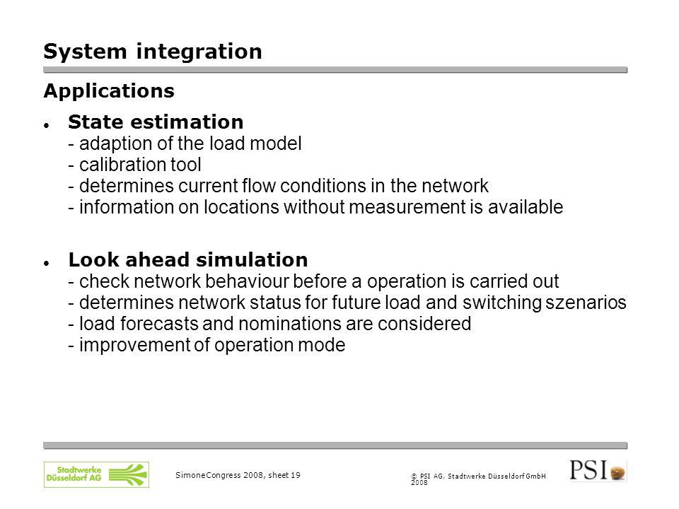 © PSI AG, Stadtwerke Düsseldorf GmbH 2008 SimoneCongress 2008, sheet 19 System integration Applications State estimation - adaption of the load model