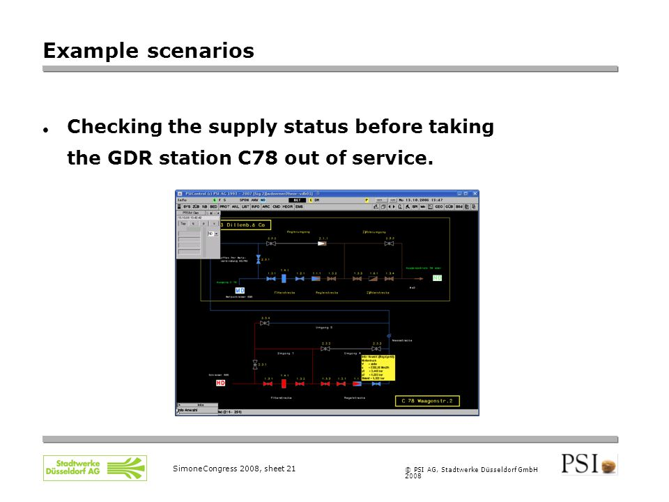© PSI AG, Stadtwerke Düsseldorf GmbH 2008 SimoneCongress 2008, sheet 21 Example scenarios Checking the supply status before taking the GDR station C78