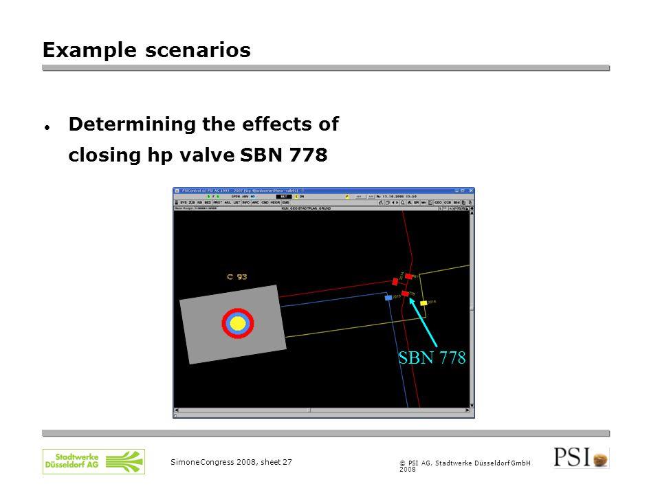 © PSI AG, Stadtwerke Düsseldorf GmbH 2008 SimoneCongress 2008, sheet 27 Example scenarios Determining the effects of closing hp valve SBN 778 SBN 778