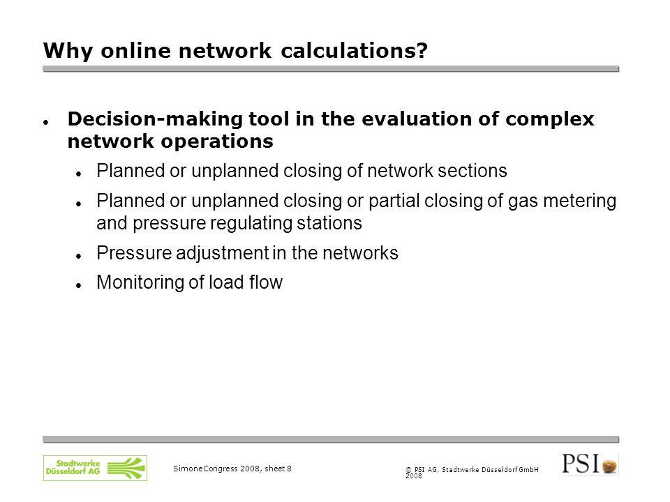© PSI AG, Stadtwerke Düsseldorf GmbH 2008 SimoneCongress 2008, sheet 8 Why online network calculations.