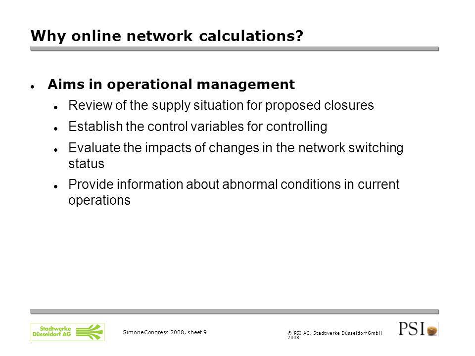 © PSI AG, Stadtwerke Düsseldorf GmbH 2008 SimoneCongress 2008, sheet 9 Why online network calculations.