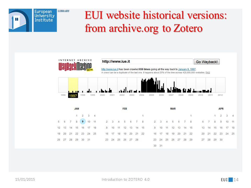 15/01/2015Introduction to ZOTERO 4.0 14 EUI website historical versions: from archive.org to Zotero