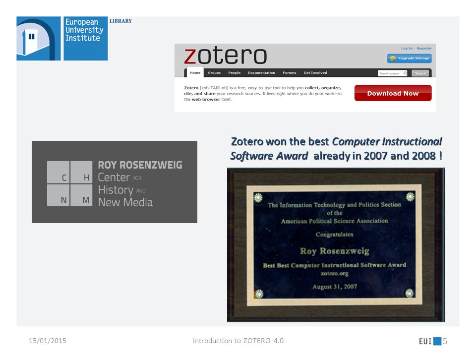 15/01/2015Introduction to ZOTERO 4.0 26 Chapter 3: Bibliographical records & Bibliographies