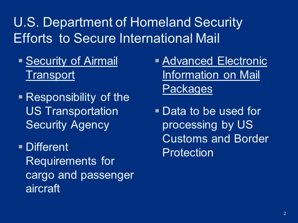 U.S. Department of Homeland Security Efforts to Secure International Mail  Security of Airmail Transport  Responsibility of the US Transportation Se