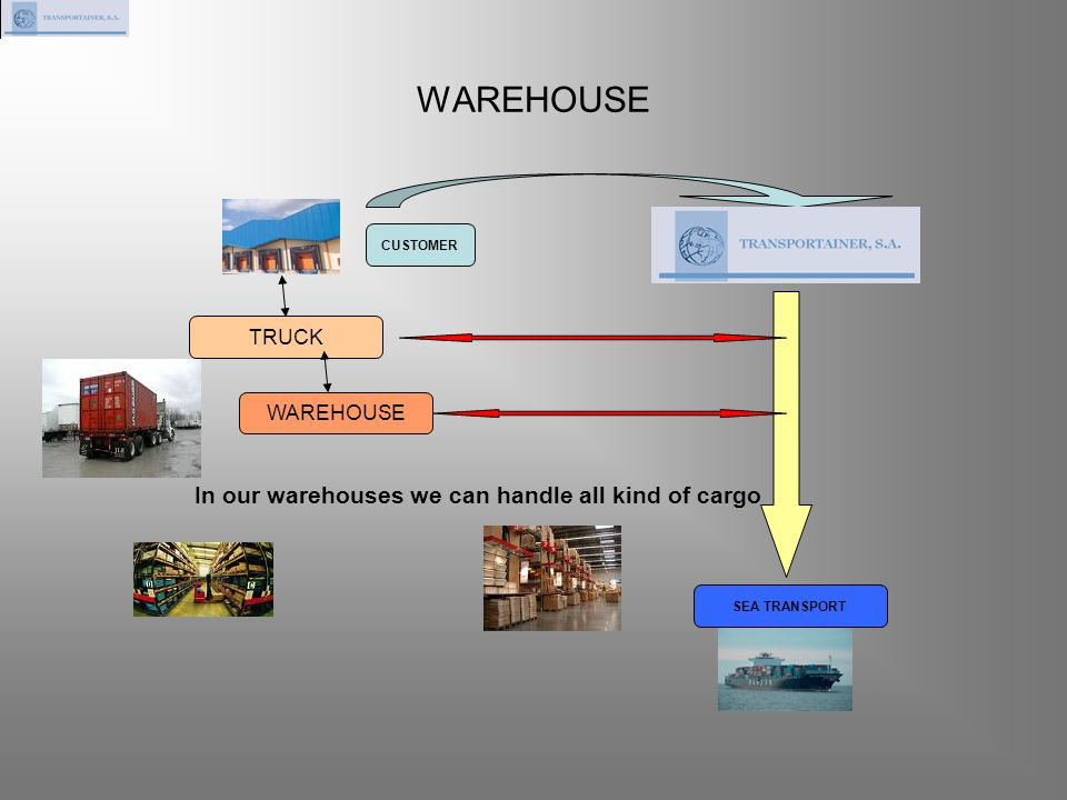 WAREHOUSE CUSTOMER SEA TRANSPORT TRUCK WAREHOUSE In our warehouses we can handle all kind of cargo