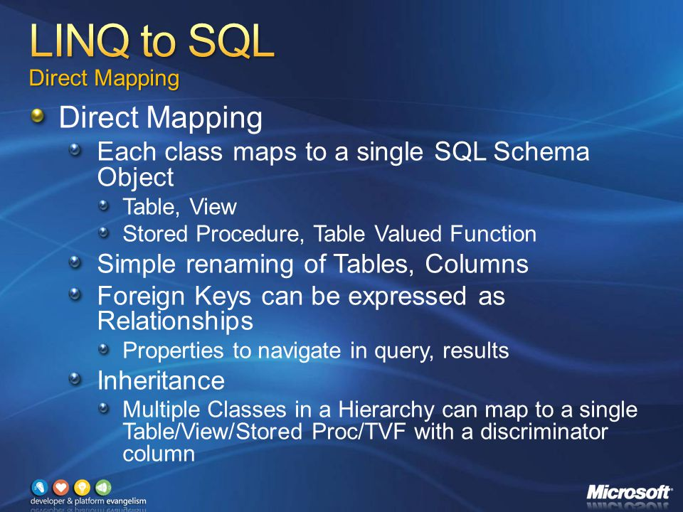 Direct Mapping Each class maps to a single SQL Schema Object Table, View Stored Procedure, Table Valued Function Simple renaming of Tables, Columns Foreign Keys can be expressed as Relationships Properties to navigate in query, results Inheritance Multiple Classes in a Hierarchy can map to a single Table/View/Stored Proc/TVF with a discriminator column