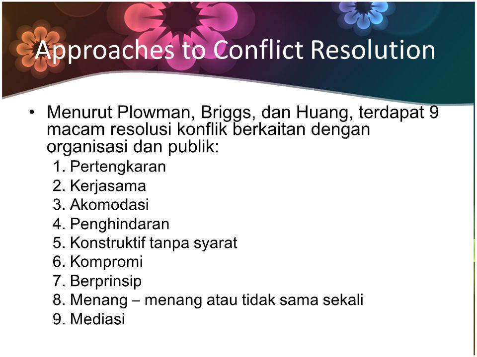 Menurut Plowman, Briggs, dan Huang, terdapat 9 macam resolusi konflik berkaitan dengan organisasi dan publik: 1.