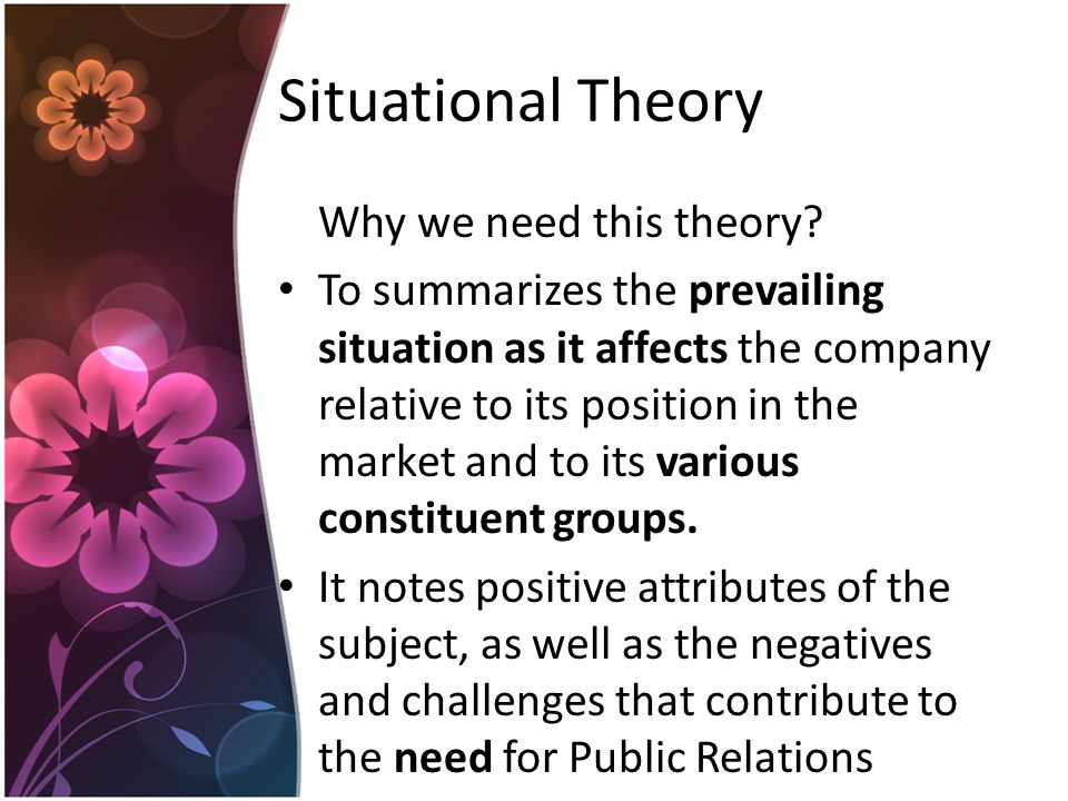 Situational Theory Why we need this theory.