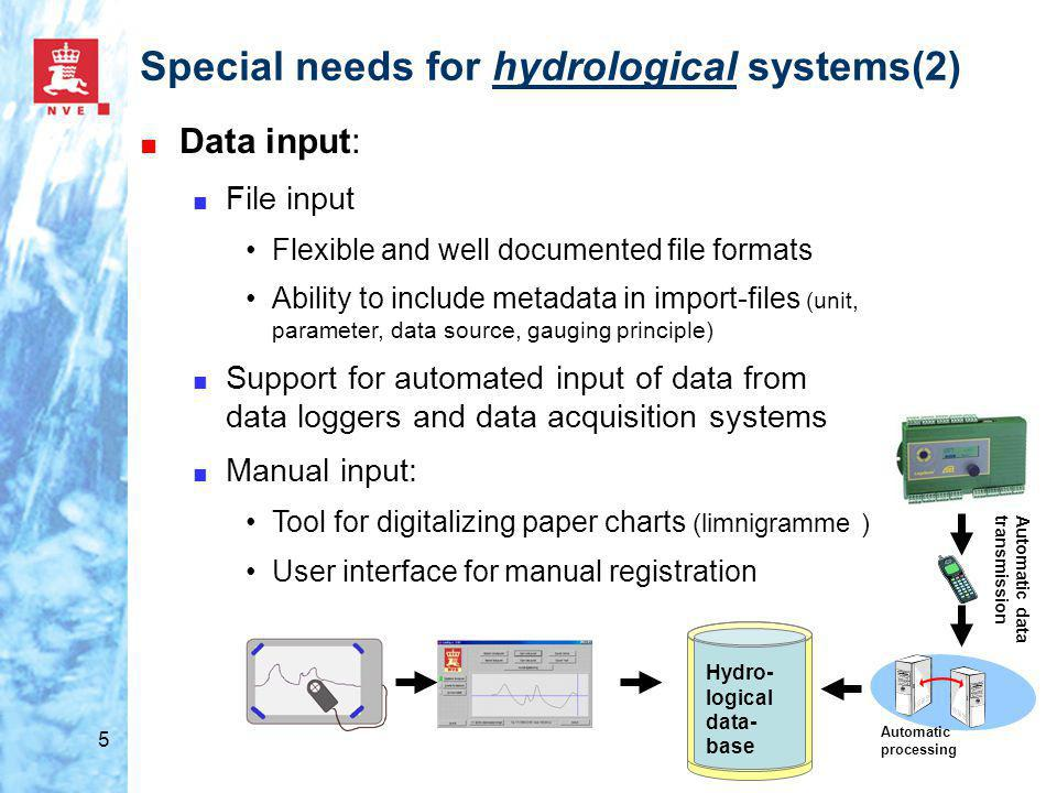 5 Special needs for hydrological systems(2) ■ Data input: ■ File input Flexible and well documented file formats Ability to include metadata in import-files (unit, parameter, data source, gauging principle) ■ Support for automated input of data from data loggers and data acquisition systems ■ Manual input: Tool for digitalizing paper charts (limnigramme ) User interface for manual registration Hydro- logical data- base Automatic processing Automatic data transmission