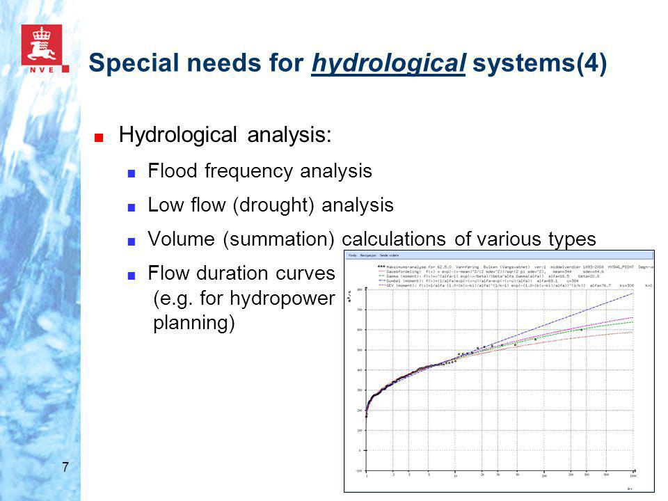 7 ■ Hydrological analysis: ■ Flood frequency analysis ■ Low flow (drought) analysis ■ Volume (summation) calculations of various types ■ Flow duration curves (e.g.