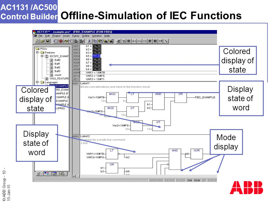 © ABB Group - 10 - 15-Jan-15 AC1131 /AC500 Control Builder Colored display of state Display state of word Offline-Simulation of IEC Functions Mode display Colored display of state