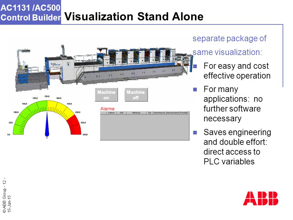 © ABB Group - 12 - 15-Jan-15 AC1131 /AC500 Control Builder Visualization Stand Alone Machine on Machine off separate package of same visualization: For easy and cost effective operation For many applications: no further software necessary Saves engineering and double effort: direct access to PLC variables