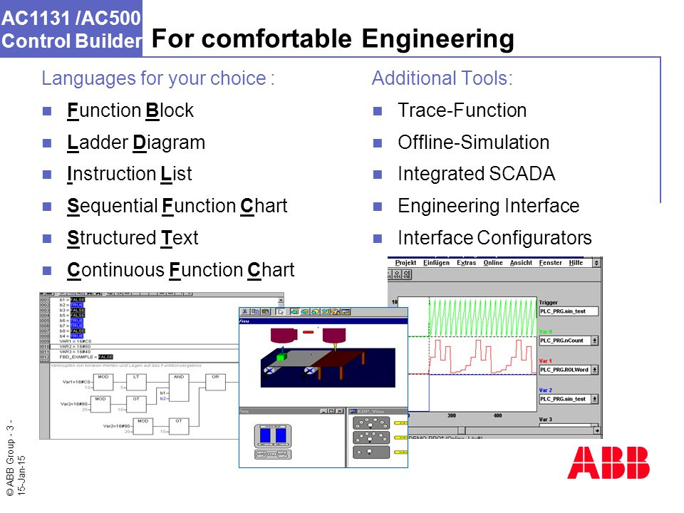 © ABB Group - 3 - 15-Jan-15 AC1131 /AC500 Control Builder For comfortable Engineering Additional Tools: Trace-Function Offline-Simulation Integrated SCADA Engineering Interface Interface Configurators Languages for your choice : Function Block Ladder Diagram Instruction List Sequential Function Chart Structured Text Continuous Function Chart