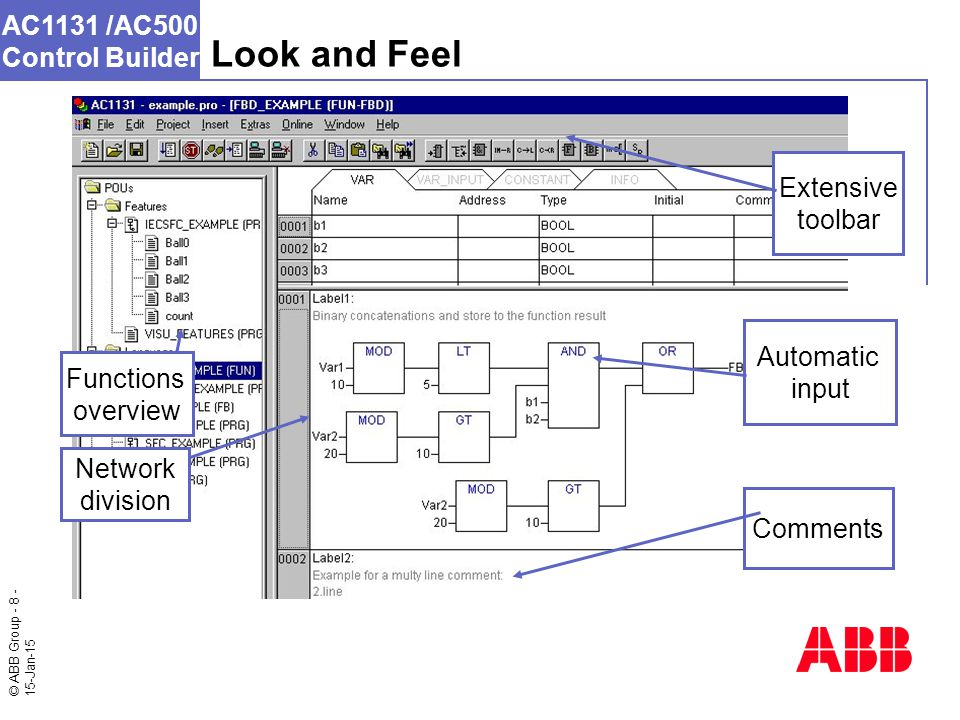 © ABB Group - 8 - 15-Jan-15 AC1131 /AC500 Control Builder Network division Extensive toolbar Comments Automatic input Look and Feel Functions overview