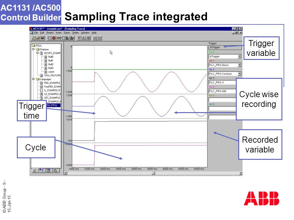 © ABB Group - 9 - 15-Jan-15 AC1131 /AC500 Control Builder Sampling Trace integrated Trigger variable Cycle wise recording Recorded variable Cycle Trigger time