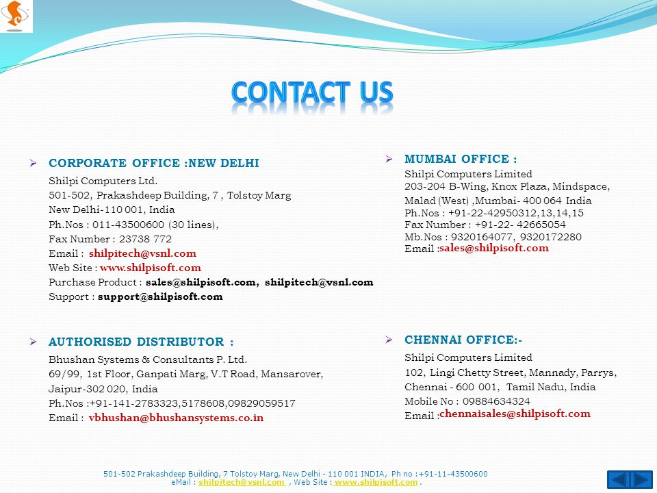  CORPORATE OFFICE :NEW DELHI Shilpi Computers Ltd.