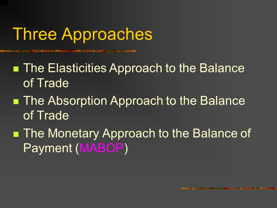 The Elasticities Approach to the Balance of Trade The Absorption Approach to the Balance of Trade The Monetary Approach to the Balance of Payment (MAB