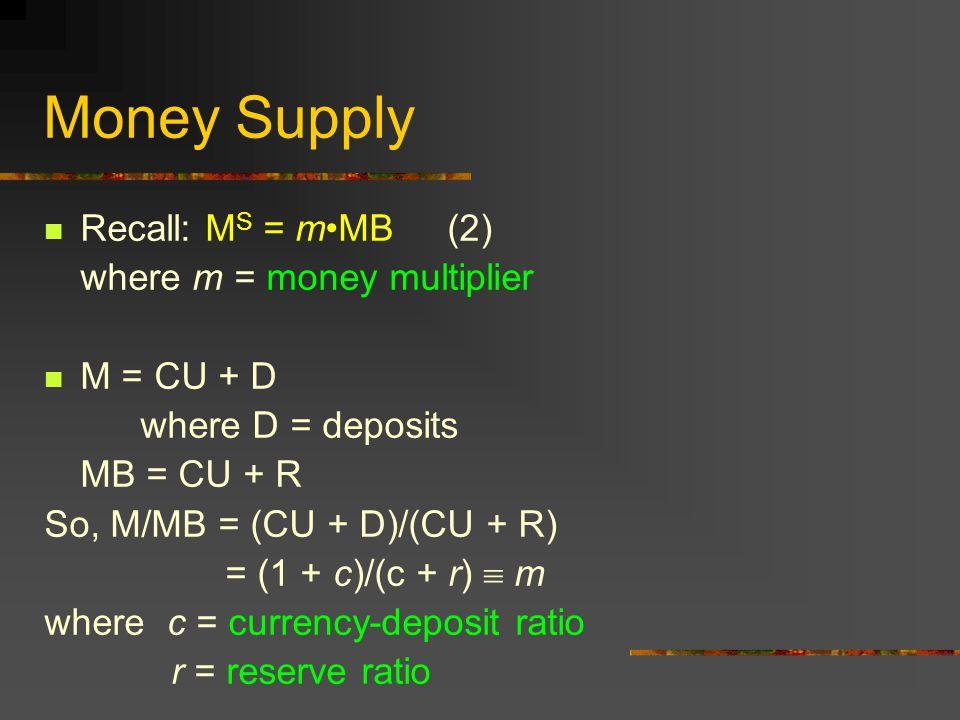 Money Supply Recall: M S = mMB (2) where m = money multiplier M = CU + D where D = deposits MB = CU + R So, M/MB = (CU + D)/(CU + R) = (1 + c)/(c + r)