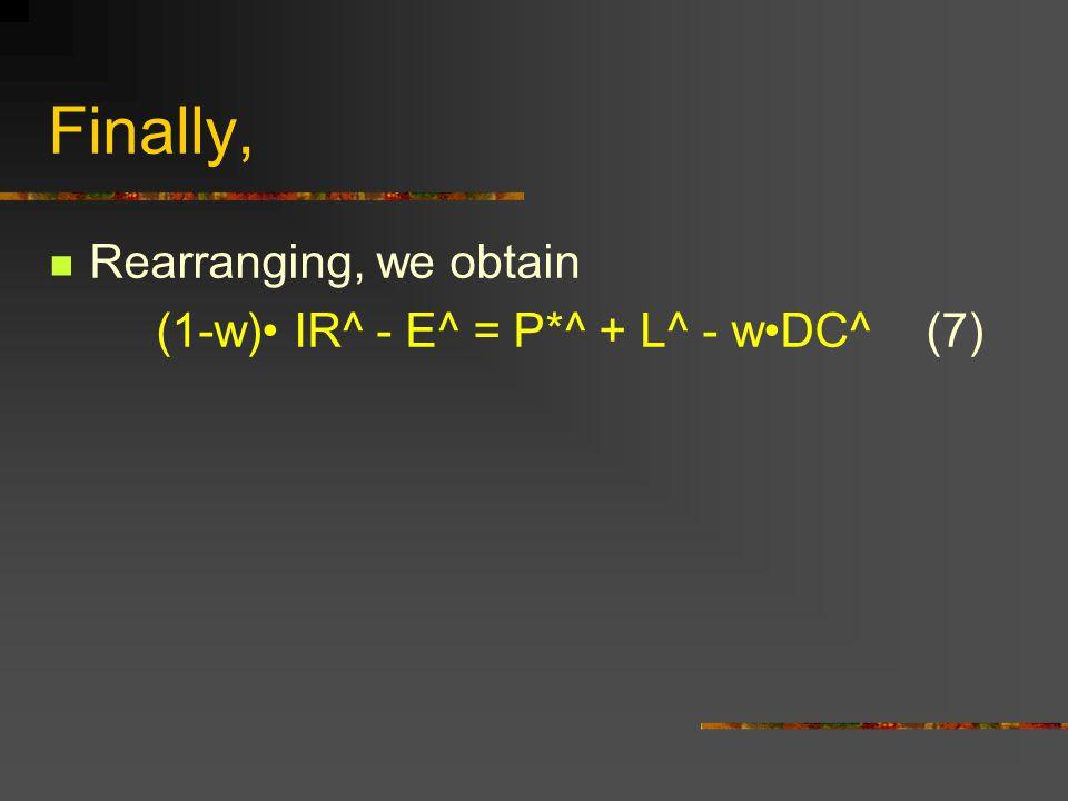 Finally, Rearranging, we obtain (1-w) IR^ - E^ = P*^ + L^ - wDC^ (7)