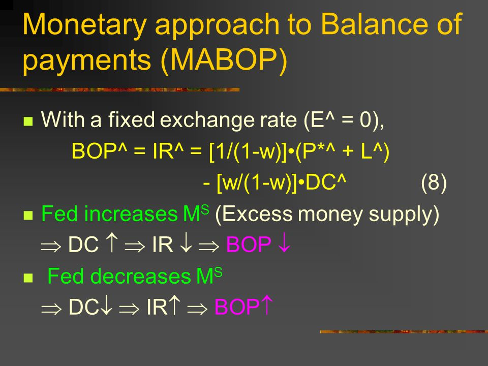Monetary approach to Balance of payments (MABOP) With a fixed exchange rate (E^ = 0), BOP^ = IR^ = [1/(1-w)](P*^ + L^) - [w/(1-w)]DC^ (8) Fed increase