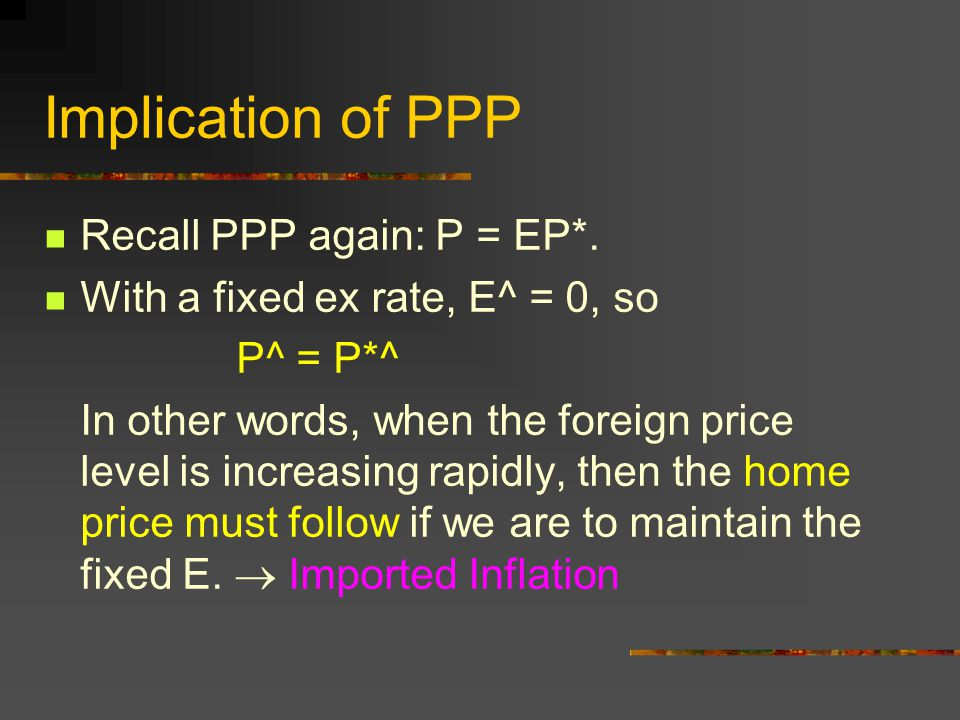Implication of PPP Recall PPP again: P = EP*. With a fixed ex rate, E^ = 0, so P^ = P*^ In other words, when the foreign price level is increasing rap