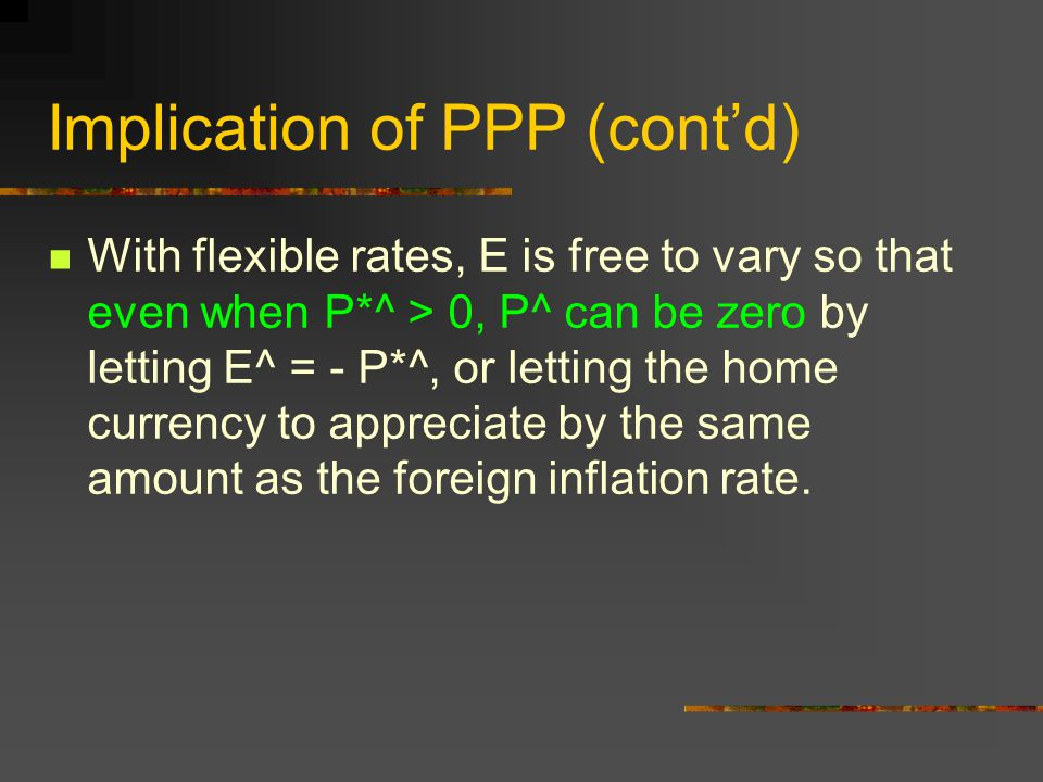 Implication of PPP (cont'd) With flexible rates, E is free to vary so that even when P*^ > 0, P^ can be zero by letting E^ = - P*^, or letting the hom