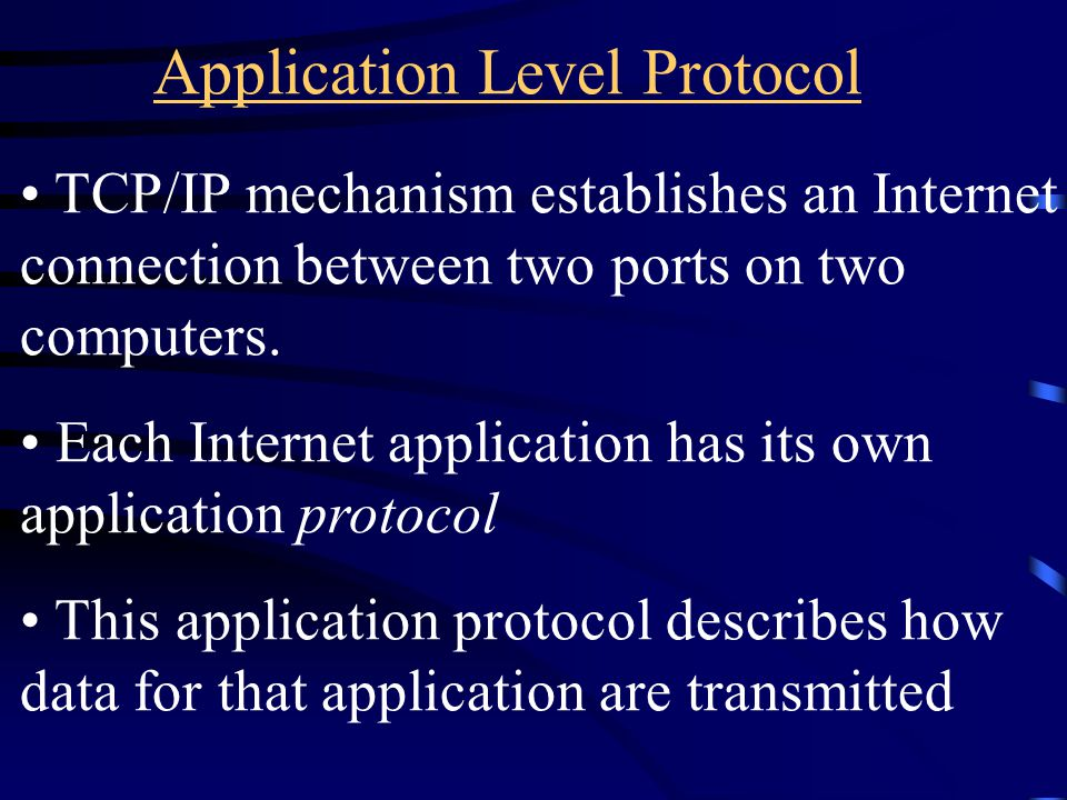 Application Level Protocol TCP/IP mechanism establishes an Internet connection between two ports on two computers.
