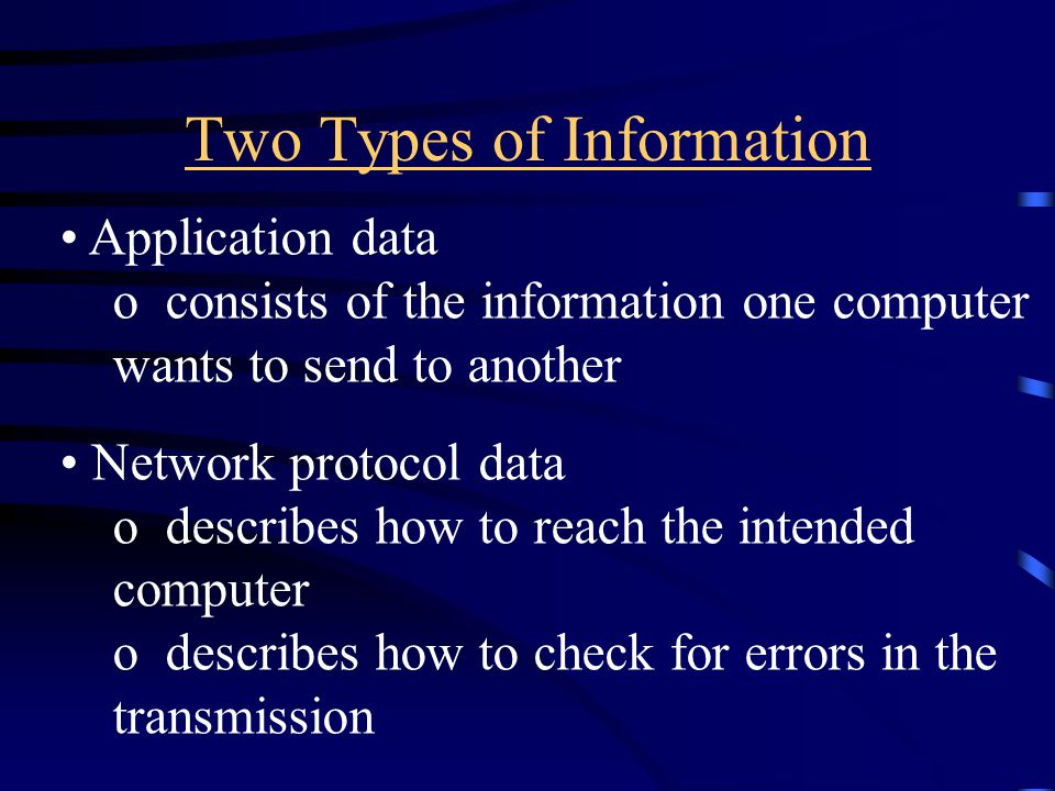 Two Types of Information Application data o consists of the information one computer wants to send to another Network protocol data o describes how to reach the intended computer o describes how to check for errors in the transmission
