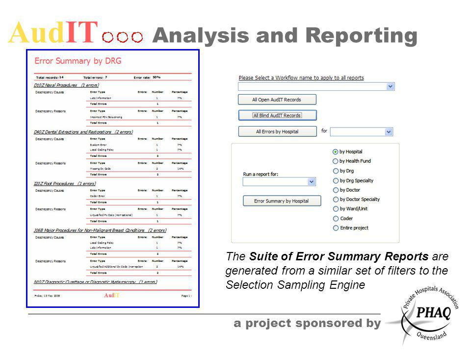 AudIT a project sponsored by Analysis and Reporting The Suite of Error Summary Reports are generated from a similar set of filters to the Selection Sa