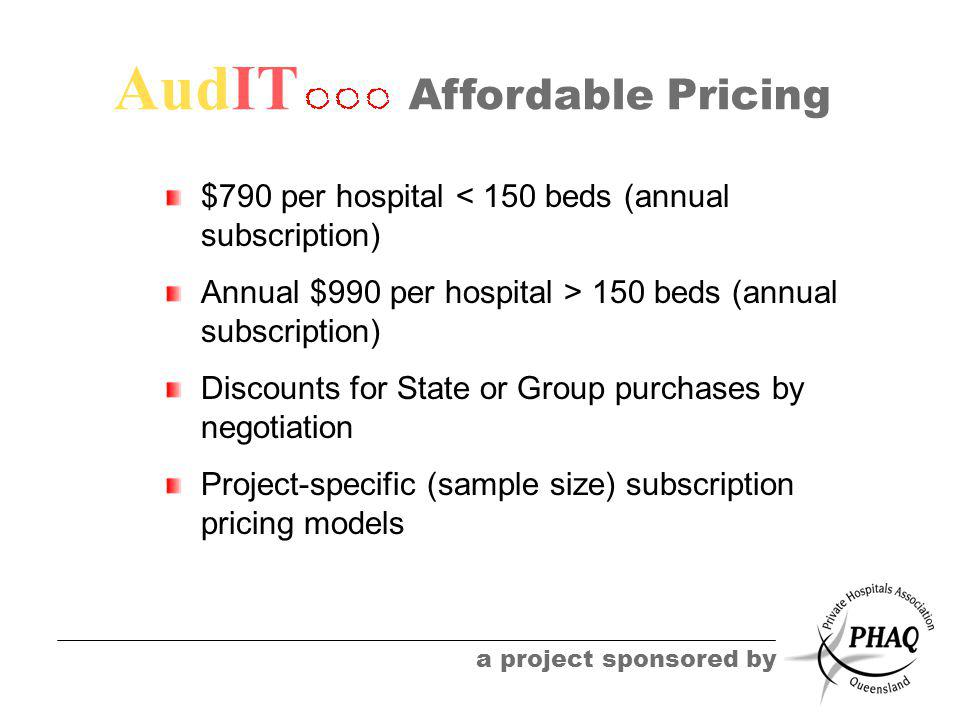 AudIT a project sponsored by Affordable Pricing $790 per hospital < 150 beds (annual subscription) Annual $990 per hospital > 150 beds (annual subscri