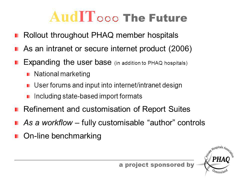 AudIT a project sponsored by The Future Rollout throughout PHAQ member hospitals As an intranet or secure internet product (2006) Expanding the user base (in addition to PHAQ hospitals) National marketing User forums and input into internet/intranet design Including state-based import formats Refinement and customisation of Report Suites As a workflow – fully customisable author controls On-line benchmarking