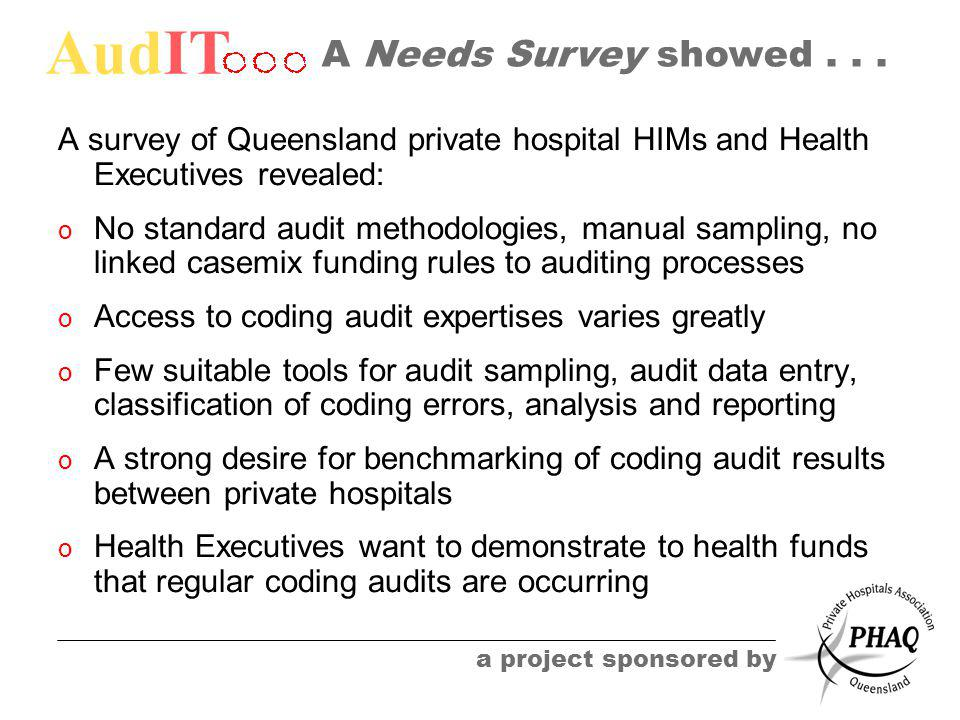 AudIT a project sponsored by A Needs Survey showed...