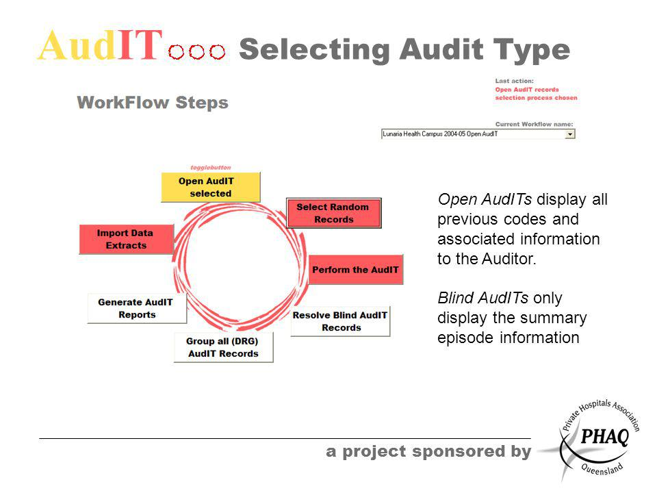 AudIT a project sponsored by Selecting Audit Type Open AudITs display all previous codes and associated information to the Auditor. Blind AudITs only