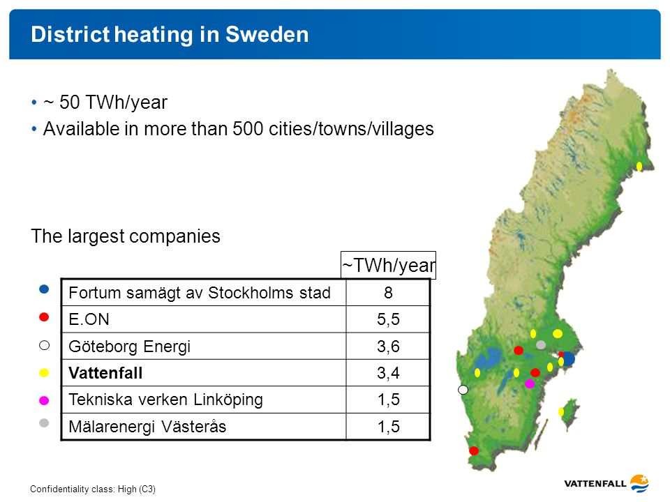 Confidentiality class: High (C3) District heating in Sweden ~ 50 TWh/year Available in more than 500 cities/towns/villages The largest companies Fortu